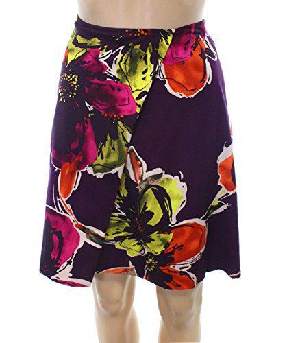 Trina Turk Women's A-Line Floral Printed Skirt Purple 4