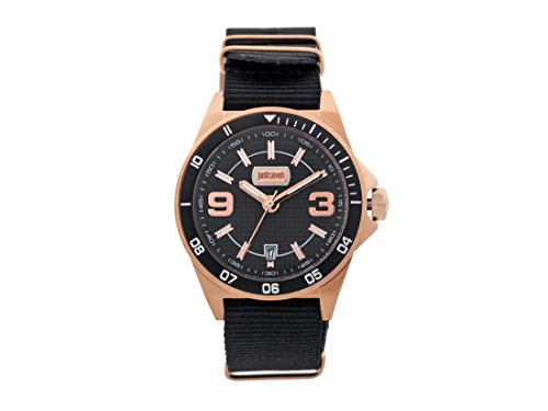 Just Cavalli Mens black nylon strap watch with black dial