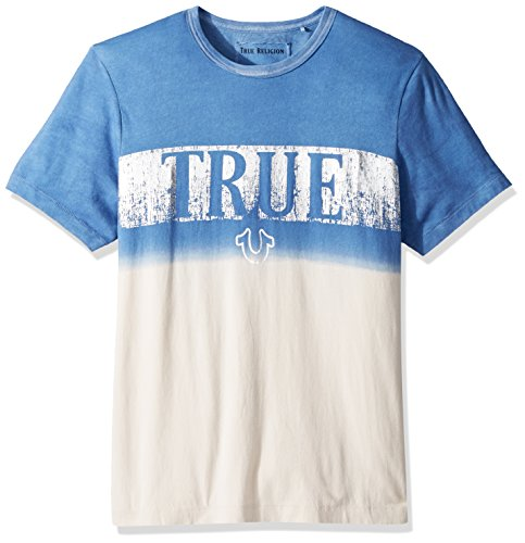True Religion Men's Metallic Print Dip Dye Tee, Retro Blue, L