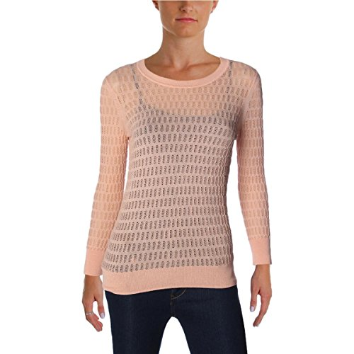 Marc by Marc Jacobs Womens Open Stitch Sheer Pullover Sweater Orange L