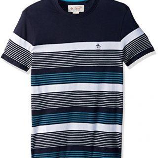 Original Penguin Men's Short Sleeve Blocked Stripe Tee, Dark Sapphire, Large