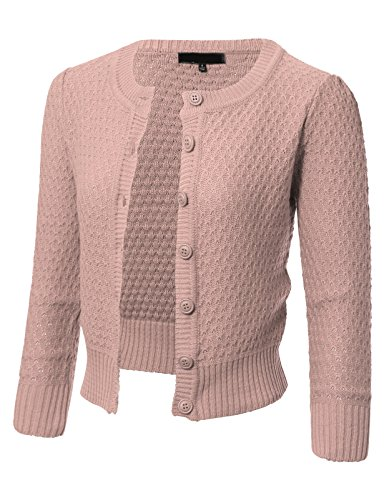 ARC Studio Womens Button Down 3/4 Sleeve Crewneck Cropped Knit Cardigan Crochet Sweater S Blush