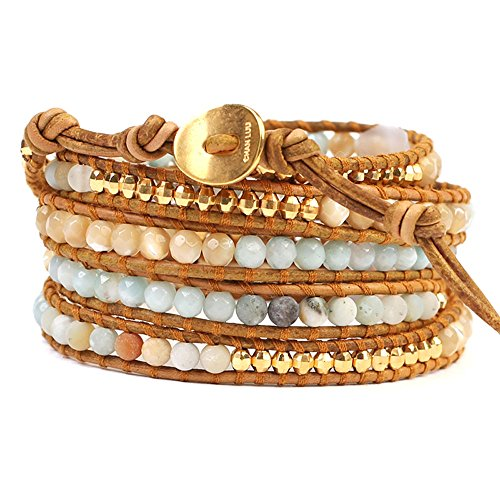 Chan Luu Stone Mix Wrap Bracelet (Multi Amazonite Mix)