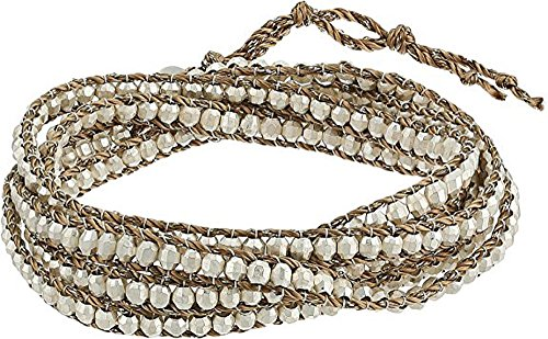 Chan Luu Women's Sterling Silver Beaded Wrap Bracelet on Bronze-tone Cord