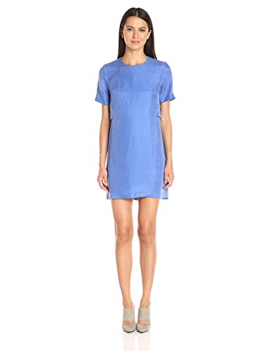 A|X Armani Exchange Women's Short Sleeve Double Layer Dress, Amparo Blue, 4