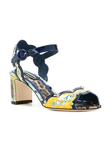 Dolce e Gabbana Women's Yellow/Black Leather Sandals