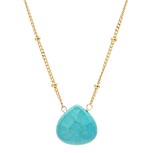 Inspirations By Satya Turquoise Drop Necklace (18-inch) (compressed-turquoise)