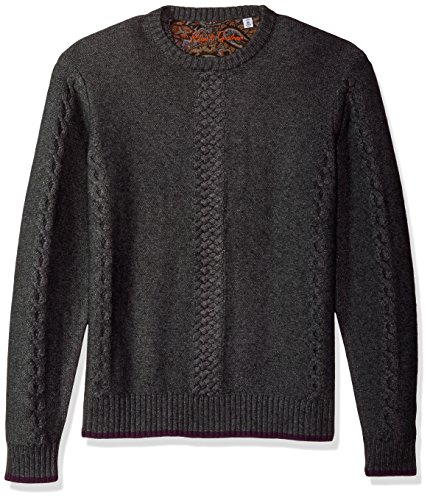 Robert Graham Men's Fulton Chain Long Sleeve Sweater, Medium Grey, XLarge