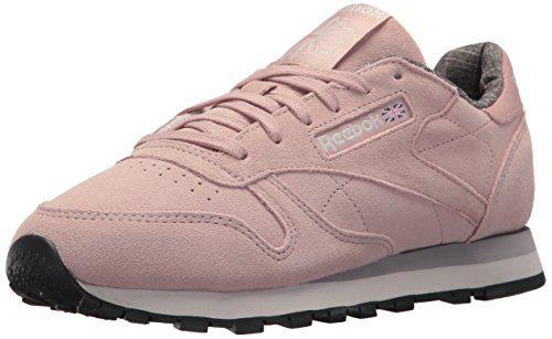 Reebok Women's CL Lthr W&W Sneaker, Shell Pink/Whisper Grey/Leather, 6.5 M US