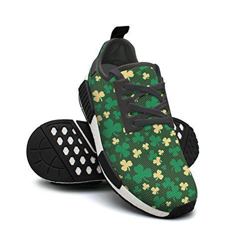 Designsonic Massachusetts Basketball Team Clover Logo Green Man Running Sneakers Shoes Low Top