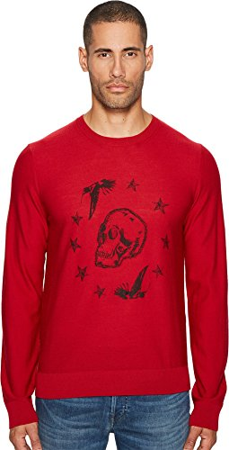 Just Cavalli Men's Skeleton Sweater Crimson Shirt