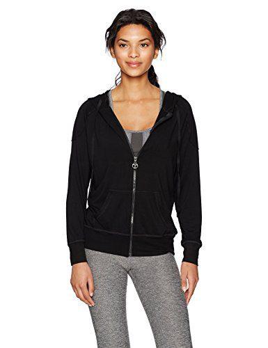 Trina Turk Recreation Women's Terry Hooded Jacket, Black, M