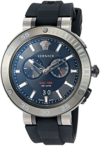 Versace Men's 'V-EXTREME PRO' Swiss Quartz Stainless Steel and Silicone Casual Watch, Color Black