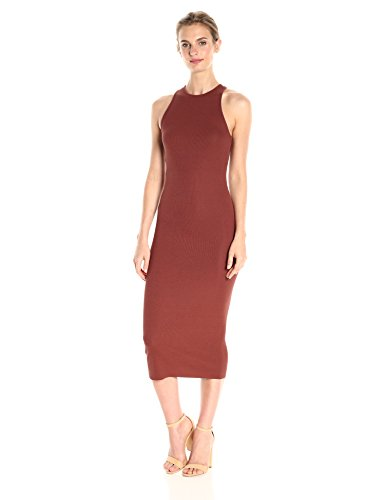 Enza Costa Women's Stretch Silk Rib Jersey Crossback Midi Dress, Sable, M