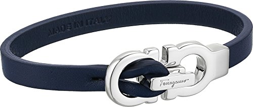 Salvatore Ferragamo Men's Leather Bracelet with Leather Gancini Closure Marine One Size