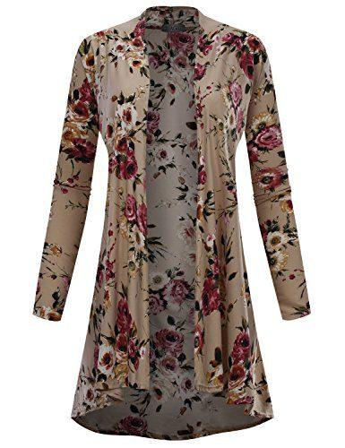 BIADANI Women Long Sleeve High Low Drape Floral Print Cardigan 11992 Stone X-Large