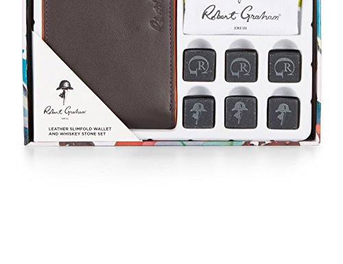 Robert Graham Men's Leather Slimfold Wallet & Whiskey Stone Set, OS, Brown