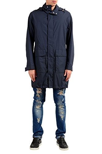"Hugo Boss Casco1"" Men's Blue Windbreaker Coat With Detachable Hood US S IT 48"