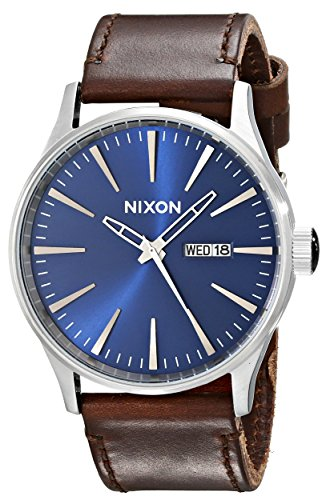 Nixon Sentry Leather. Blue and Brown Watch (42mm Blue/Silver Watch Face/23mm Brown Leather Band)