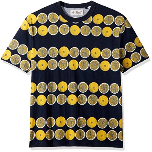 Original Penguin Men's Short Sleeve Lemon Printed Tee, Dark Sapphire, Large