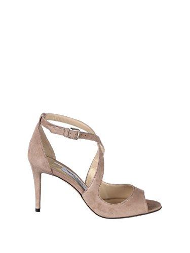JIMMY CHOO Women's Emily Beige/Grey Leather Sandals