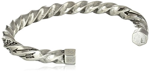 """Giles and Brother Men's""""G&B"""" Twisted Silver Oxide Cuff Bracelet"""