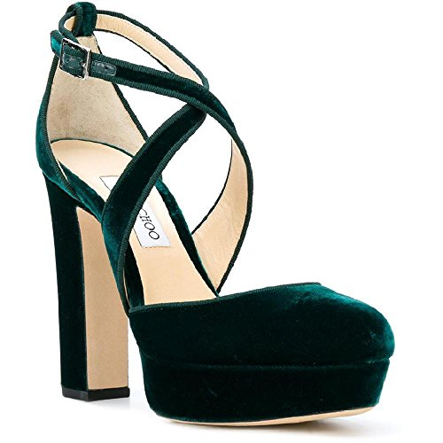 JIMMY CHOO Women's Green Velvet Sandals with Platform Shoes - Size: 9 US