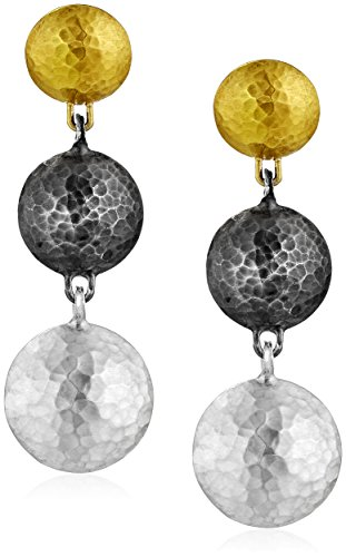 "GURHAN""Lentil"" White and Dark Silver with Gold Lentil Short Drop Earrings"