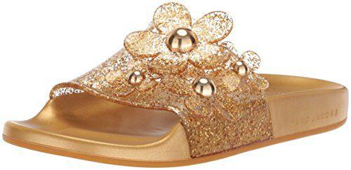Marc Jacobs Women's Daisy Aqua Slide Sandal, Gold, 38 M EU (8 US)