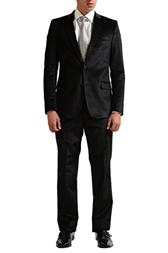 Versace Collection Men's Black Velour Two Button Suit US 44 IT 54;