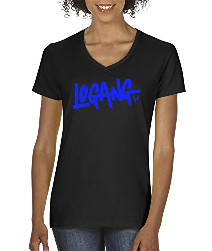New Way 785 - Women's V-Neck T-Shirt Logang Logan Paul Maverick Savage Collection Small Black