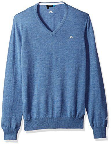 J.Lindeberg Men's Merino V-Neck Sweater, Blue Melange, XXL
