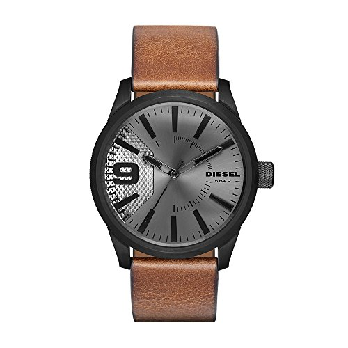 Diesel Men's 'RASP' Quartz Stainless Steel and Leather Casual Watch, Color Brown (Model: DZ1764)