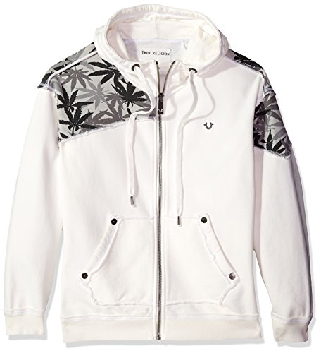 True Religion Men's Marijuana Leaf Print Zip Hoodie, White/Multi, L