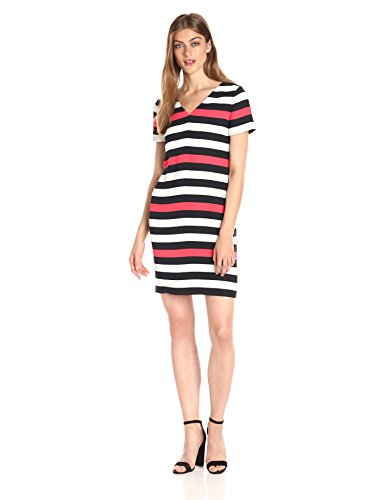 A|X Armani Exchange Women's V Neck Short Sleeve Tricolor Shift Dress, Stripe, 10