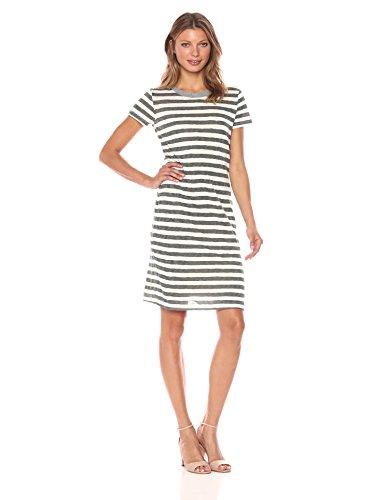 Stateside Women's Painterly Charcoal Stripe S/s Dress, Cream, S