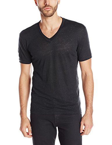 John Varvatos Collection Men's Short Sleeve V-Neck T-Shirt, Black, X-Large