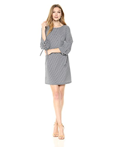 A|X Armani Exchange Women's Small Plaid Work Dress, Blue/White, 6