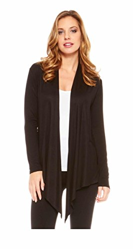 Red Hanger Women's Light Weight Open Front Drape Cardigan Sweater Made in USA Black L