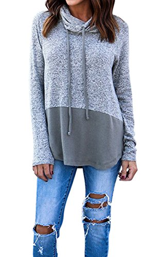 Hibluco Women's Cowl Neck Long Sleeve Pullover Sweater Blouse Knit Tops (Gray, Large)