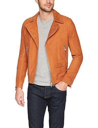 J.Lindeberg Men's Smooth Suede Moto Jacket, Glazed Ginger, X-Large