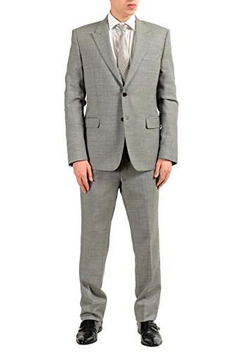 Versace Collection Men's 100% Wool Gray Two Button Suit Size US 44 IT 54
