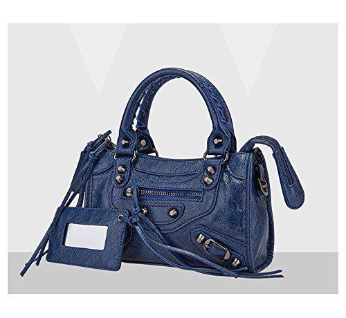 Emio Women Leather Black Studed Shoulder Bag Mini Size 9 Colors (Mini Size, Navy Blue)