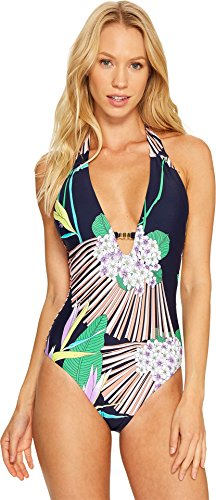 Trina Turk Women's V-Neck Halter One Piece Swimsuit, Navy/Midnight/Midnight Paradise, 8
