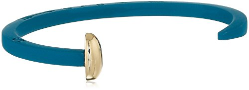 Giles and Brother Blue Rubberized Skinny Railroad Spike Cuff with Gold Finished Nail Head Cuff Bracelet