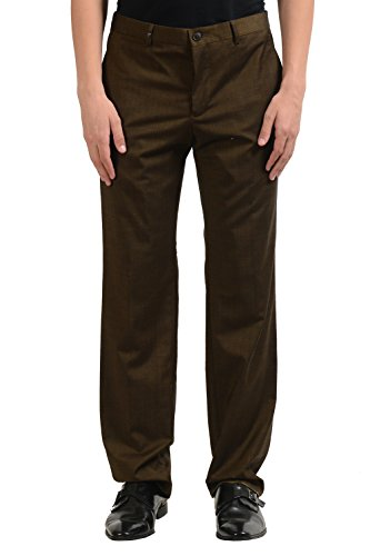 Versace Collection Men's Wool Dark Green Dress Pants US 36 IT 52;