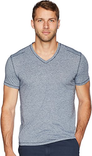 John Varvatos Star USA Men's Short Sleeve Soft Heather V-Neck with Pickstitch Blue/Stone Large