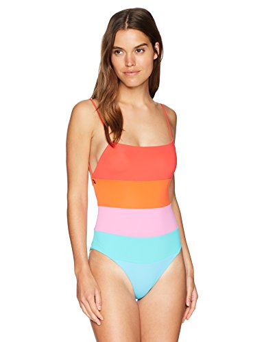 Mara Hoffman Women's Olympia High Leg One Piece Swimsuit, Sunrise Colorblock/Multi, Small