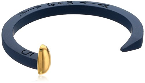 Giles and Brother Navy Rubberized Original Railroad Spike Cuff with Gold Finished Nail Head Cuff Bracelet
