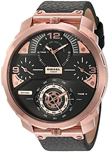Diesel Men's Machinus Rose Gold Black Leather Watch